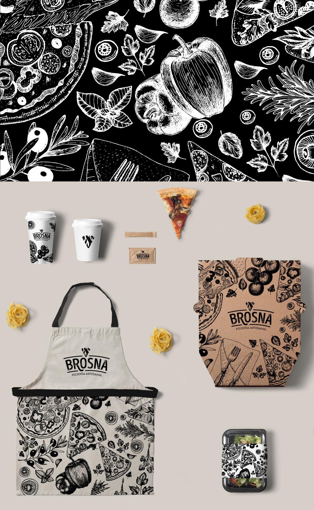 Brosna Pizería artesanal construcción de marca(branding) para negocio de pizzas