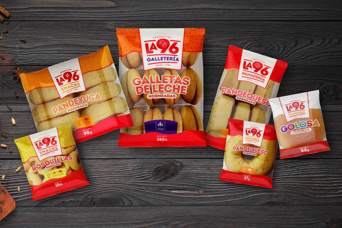 Productos la 96 diseño, empaques (imagen corporativa) para marca de productos alimenticios panadería.