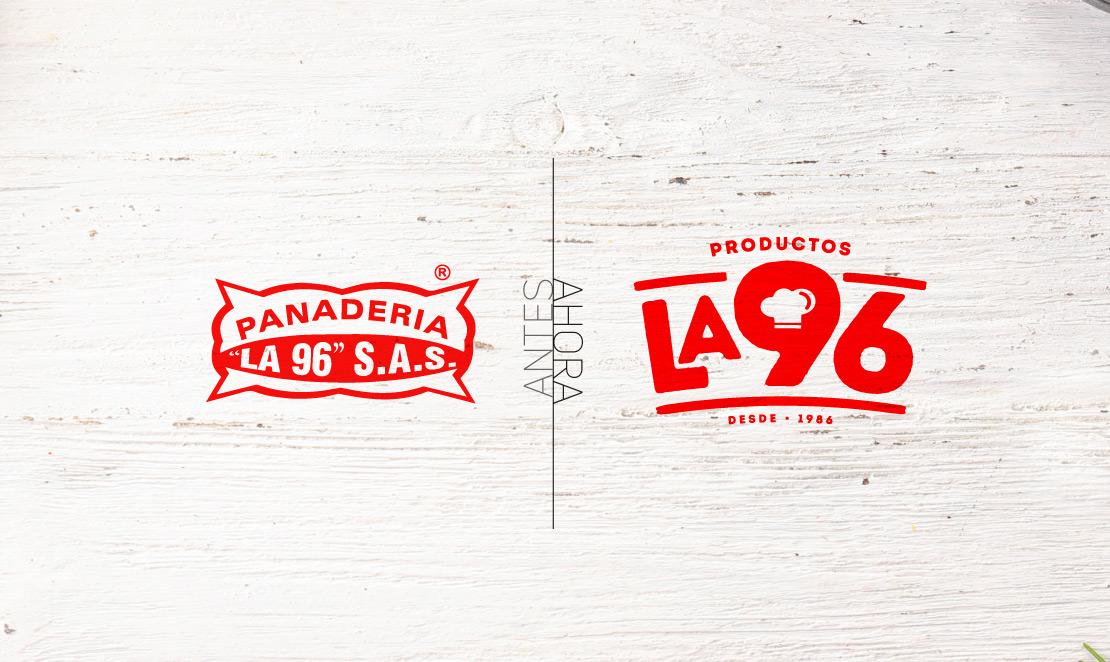 Productos la 96 rediseño de marca (imagen corporativa) para marca de productos alimenticios panadería.