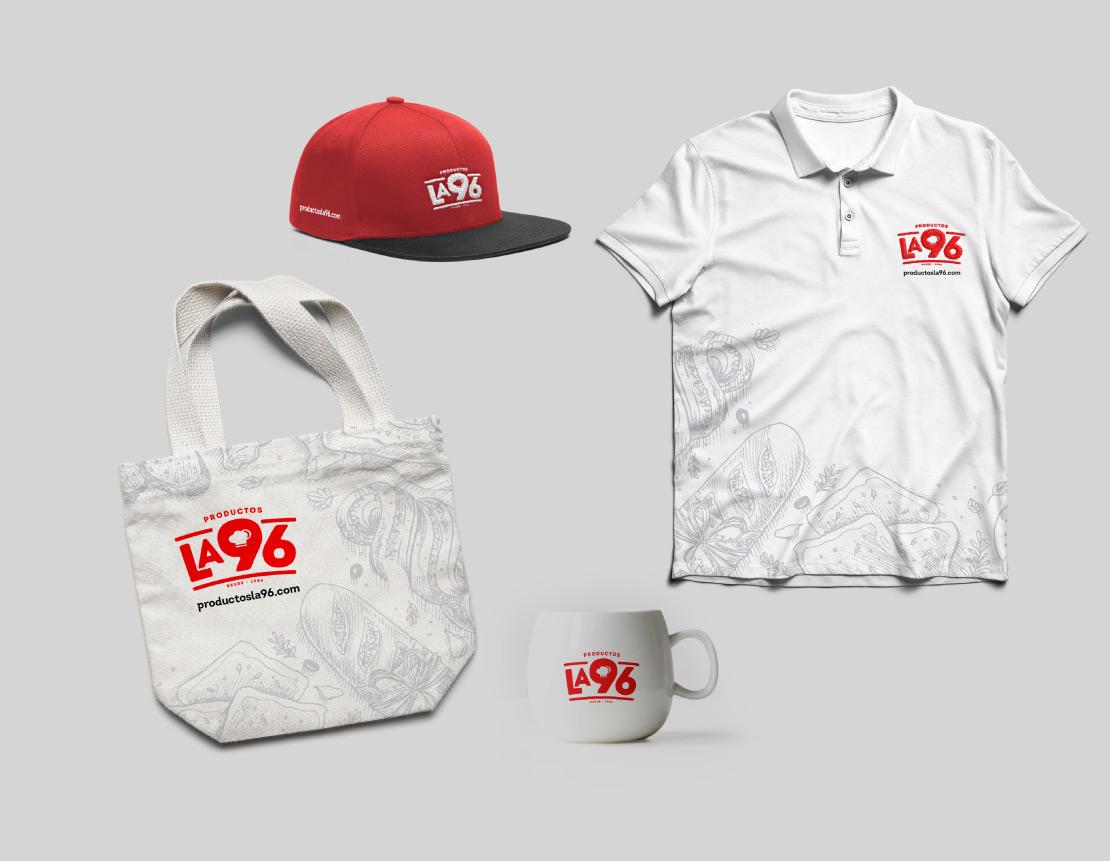 Productos la 96 construcción de marca (imagen corporativa) para marca de productos alimenticios panadería.