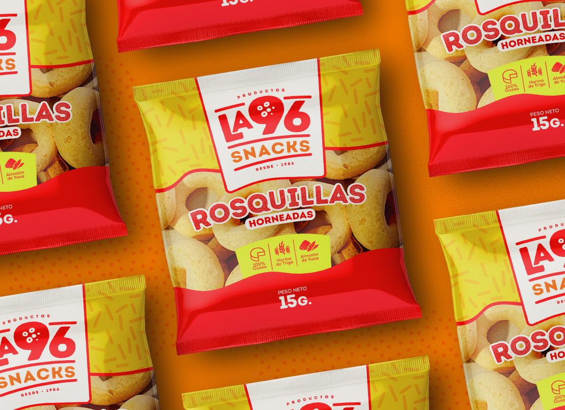 Productos la 96 diseño, empaque rosquitas (imagen corporativa) para marca de productos alimenticios panadería.