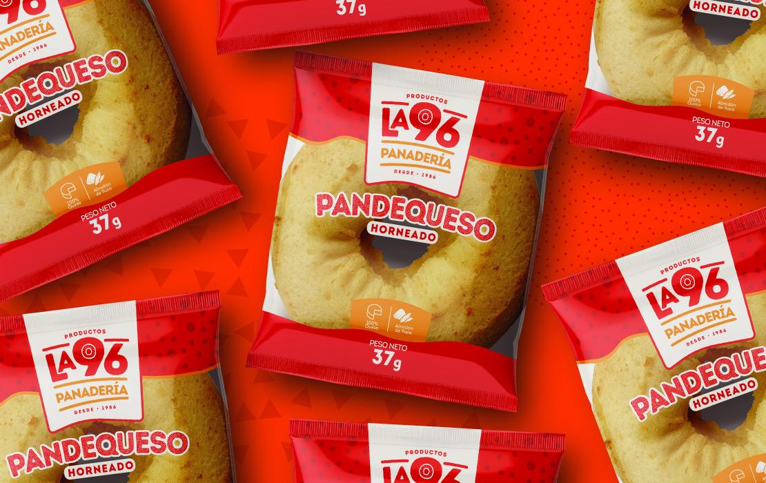 Productos la 96 diseño, empaque (imagen corporativa) para marca de productos alimenticios panadería.