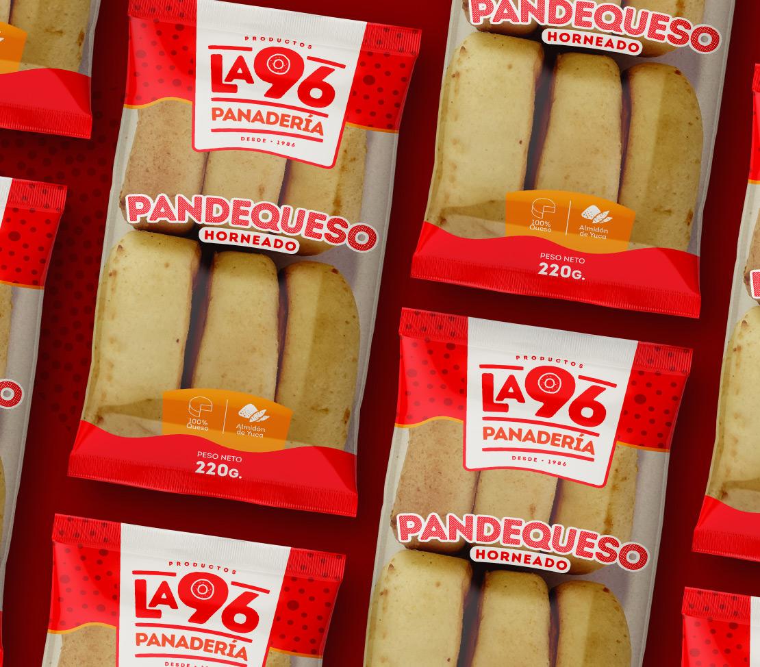 Productos la 96 diseño, empaque pandequeso (imagen corporativa) para marca de productos alimenticios panadería.