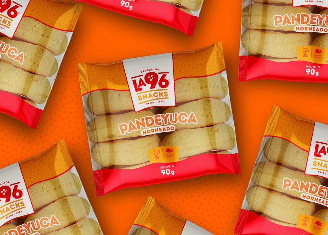 Productos la 96 diseño, empaque pandeyuca (imagen corporativa) para marca de productos alimenticios panadería.