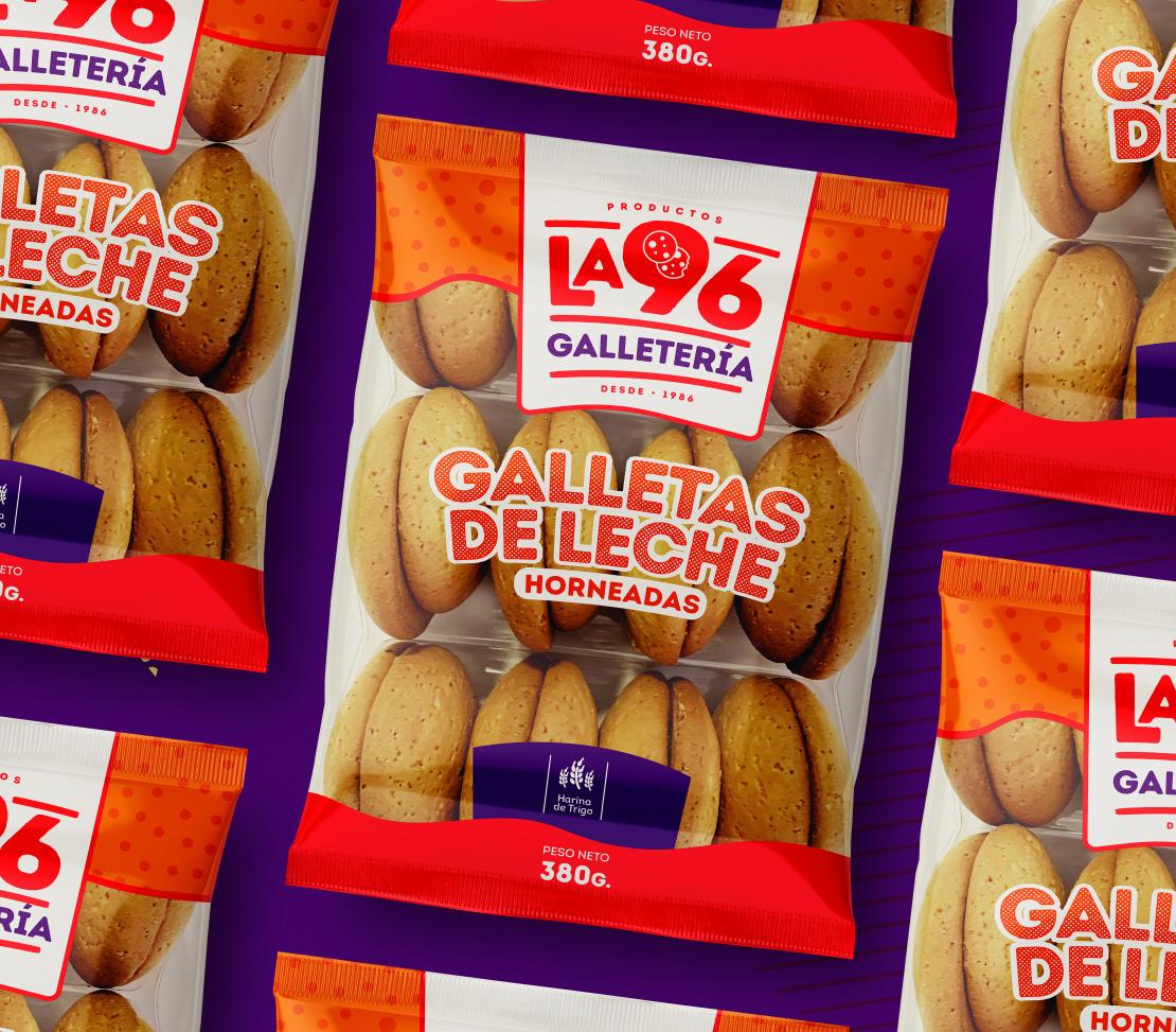 Productos la 96 diseño, empaque galleta de leche (imagen corporativa) para marca de productos alimenticios, panadería.