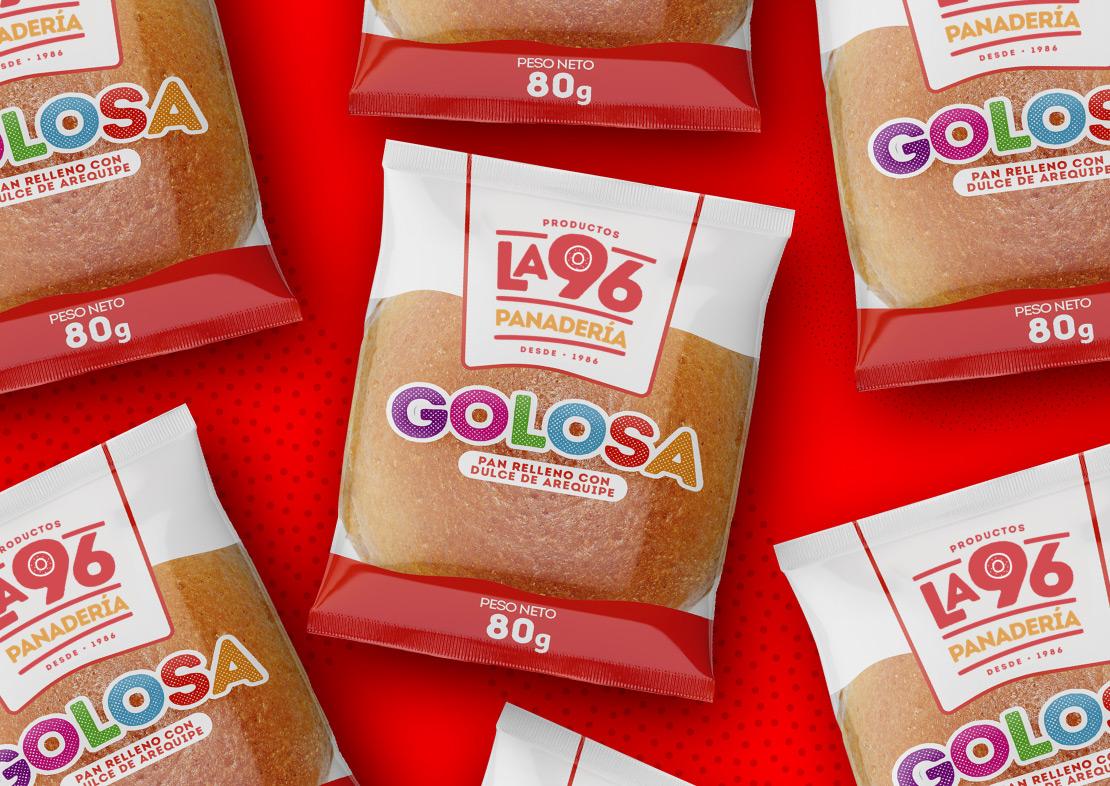 Productos la 96 diseño, empaque pan golosa (imagen corporativa) para marca de productos alimenticios, panadería.